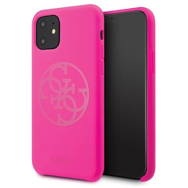 Guess GUHCN65LS4GFU iPhone 11 Pro Max fuksja/fuchsia hard case Silicone 4G Tone On Tone