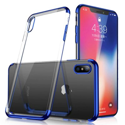Clear Color Case Gel TPU Electroplating frame Cover for Huawei P30 Lite blue