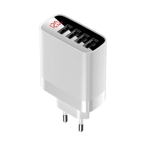 Baseus Mirror Lake Wandladegerät EU mit Digitalanzeige Voltmeter 4x USB 30W 6A weiß (CCJMHB-B02)