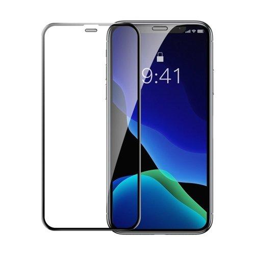 Baseus 2x szkło na cały ekran z ramką Full Screen 0.3mm 9H iPhone 11 Pro Max / iPhone XS Max + pozycjoner czarny (SGAPIPH65-WD01)