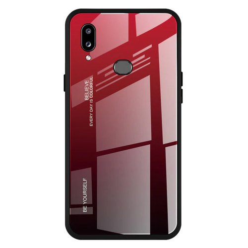 Gradient Glass etui pokrowiec nakładka ze szkła hartowanego Samsung Galaxy A20e czarno-czerwony